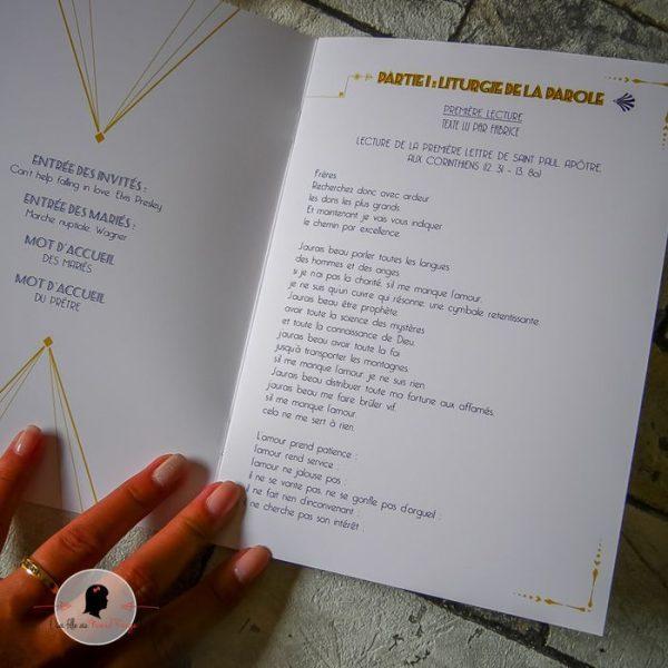 La fille au Noeud Rouge - Livret de messe mariage livret de cérémonie religieuse personnalisé mariage gatsby bleu marine 2