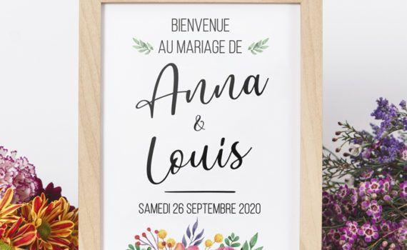 La fille au Noeud Rouge - Affiche de bienvenue mariage colorful couleurs fleurs champêtre nature