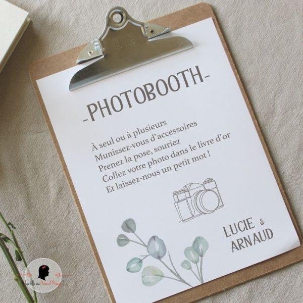 La fille au Noeud Rouge - Affiche photobooth mariage champêtre nature minimaliste