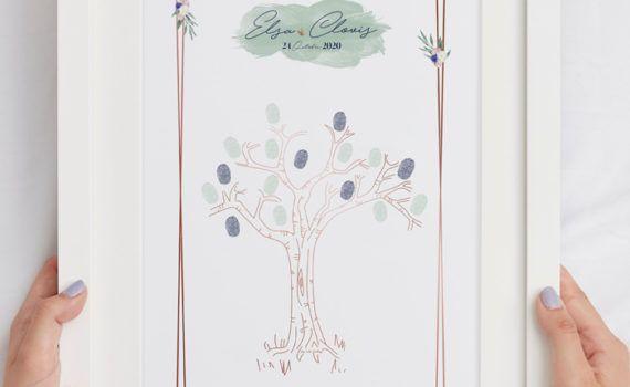 La fille au Noeud Rouge - Arbre à empreintes mariage sage green champêtre