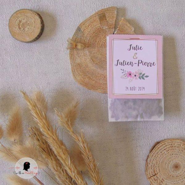 La fille au Noeud Rouge - Cadeau invités mariage champêtre sachet de graines à semer