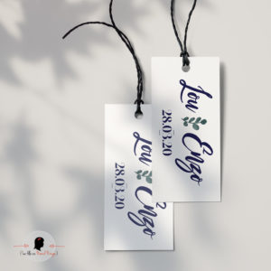 La fille au Noeud Rouge - Etiquette personnalisée cadeaux invités rectangle mariage bleu vellum fleur eucalyptus