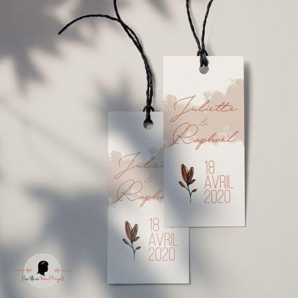 La fille au Noeud Rouge - Etiquette personnalisée cadeaux invités rectangle mariage terracotta minimaliste