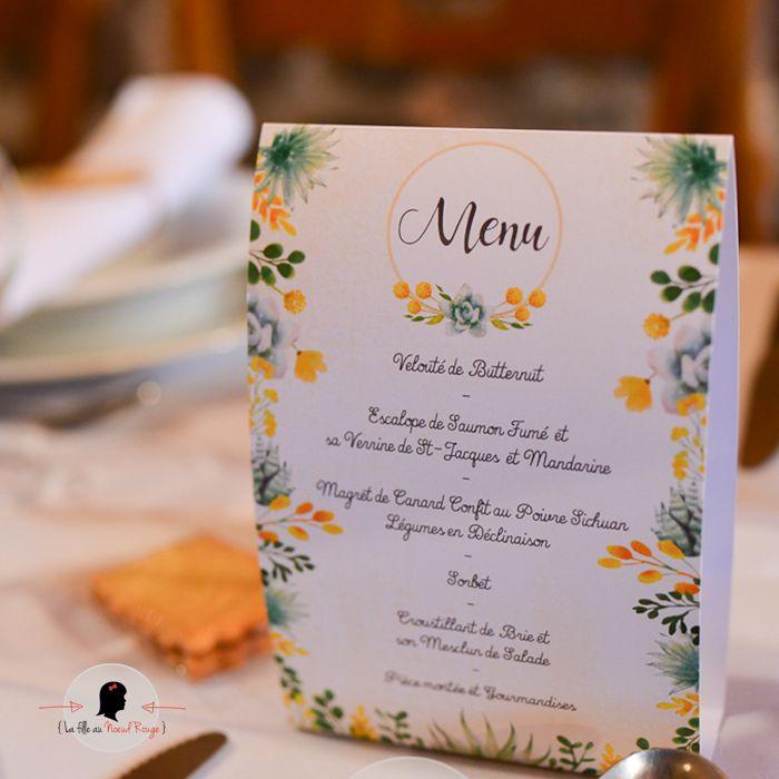 La fille au Noeud Rouge - Menu mariage chevalet plantes succulentes végétal vert jaune