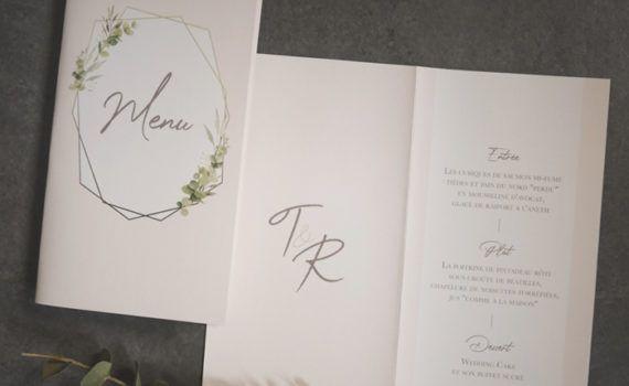 La fille au Noeud Rouge - Menu mariage livret champêtre chic nature eucalyptus
