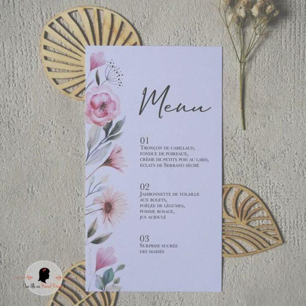 La fille au Noeud Rouge - Menu mariage rectangle moderne nature fleurs aquarelle