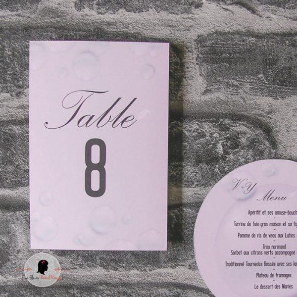 La fille au Noeud Rouge - Nom Numéro de table personnalisé rectangle mariage bulle plume