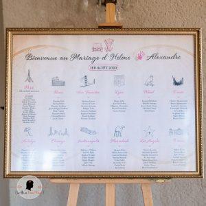La fille au Noeud Rouge - Plan de table mariage personnalisée affiche voyage vintage