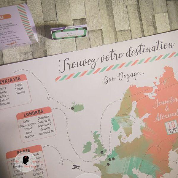 La fille au Noeud Rouge - Plan de table personnalisée affiche mariage voyage