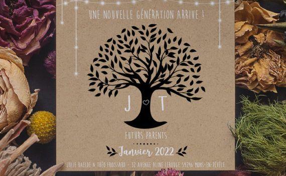 La fille au Noeud Rouge - Carte surprise annonce grossesse arbre de vie kraft nature champêtre blanc noir