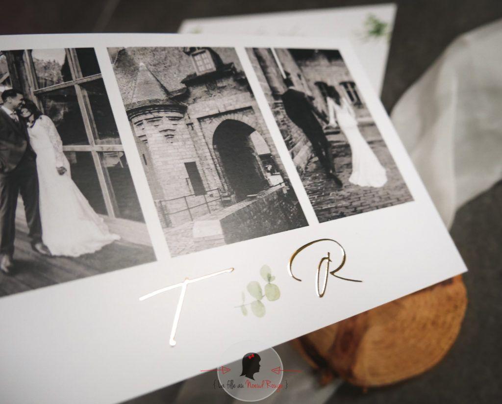 La fille au Noeud Rouge - Faire-part remerciement mariage minimaliste champêtre nature photo dorure initiale 6