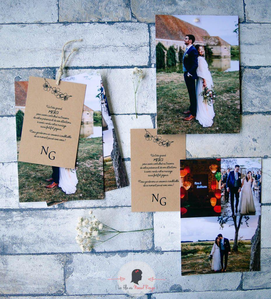 La fille au Noeud Rouge - Faire-part remerciement mariage nature kraft minimaliste 1