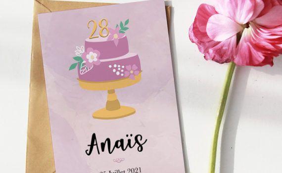 La fille au Noeud Rouge - Invitation anniversaire personnalisée collection gâteau fleuri