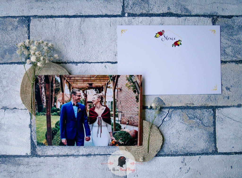 La fille au Noeud Rouge - faire-part mariage remerciement photo champêtre doré rouge jaune fleurs nature bucolique 2