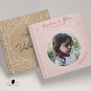 La fille au Noeud Rouge - Livre d'or baptême personnalisé fille garçon nature champêtre minimaliste