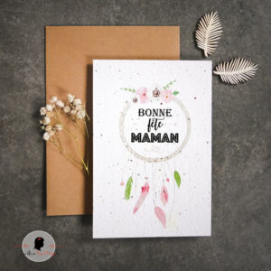 La fille au Noeud Rouge - Carte à planter attrape rêves fête des mères ok