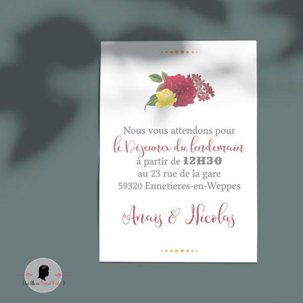 La fille au Noeud Rouge - Coupon brunch faire-part mariage nature or végétal hortensia champêtre