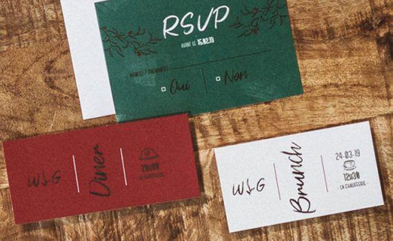 La fille au Noeud Rouge - Coupon brunch faire-part mariage urbain végétal minimaliste