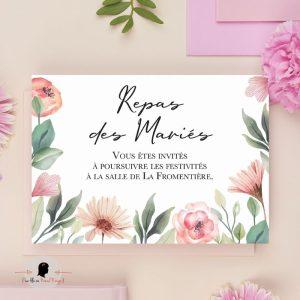 La fille au Noeud Rouge - Coupon dîner faire-part mariage nature champêtre bohème fleurs