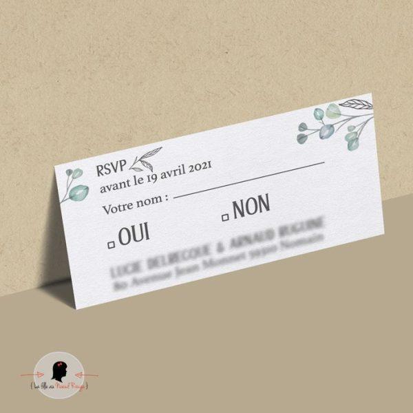 La fille au Noeud Rouge - Coupon réponse faire-part mariage nature champêtre minimaliste