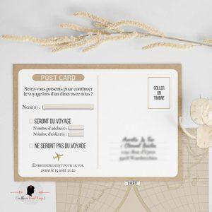 La fille au Noeud Rouge - Coupon réponse faire-part mariage voyage vintage kraft