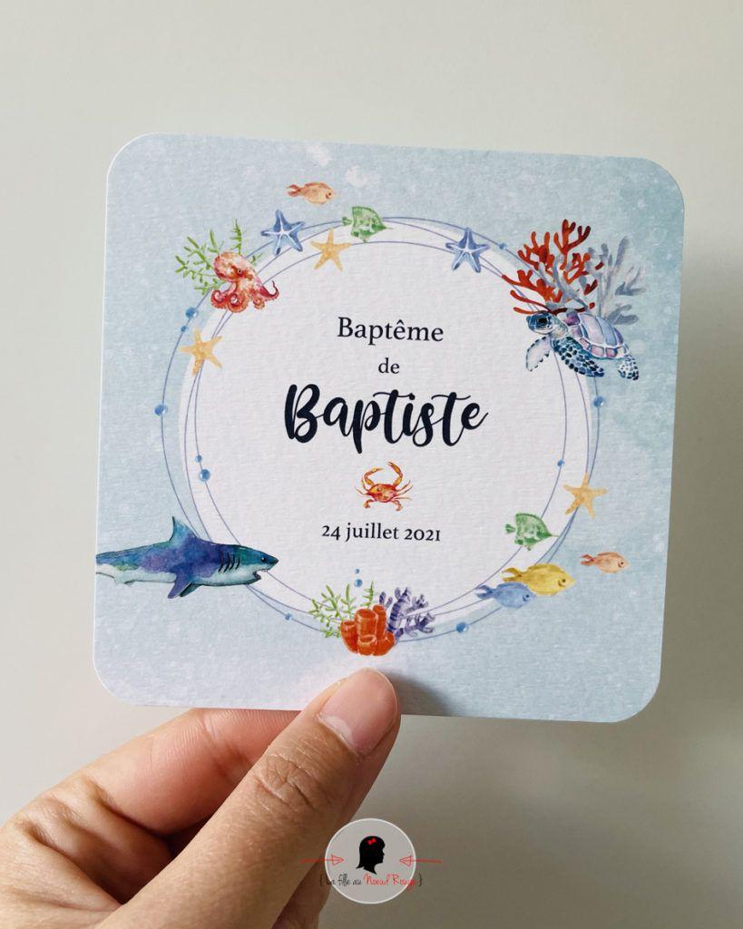 La fille au Noeud Rouge - Faire-part baptême garçon sur-mesure océan mer corail tortue requin