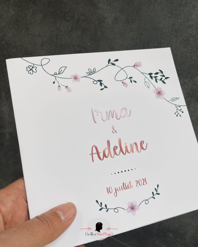 La fille au Noeud Rouge - Faire-part mariage sur-mesure champêtre fleurs vernis selectif 3D