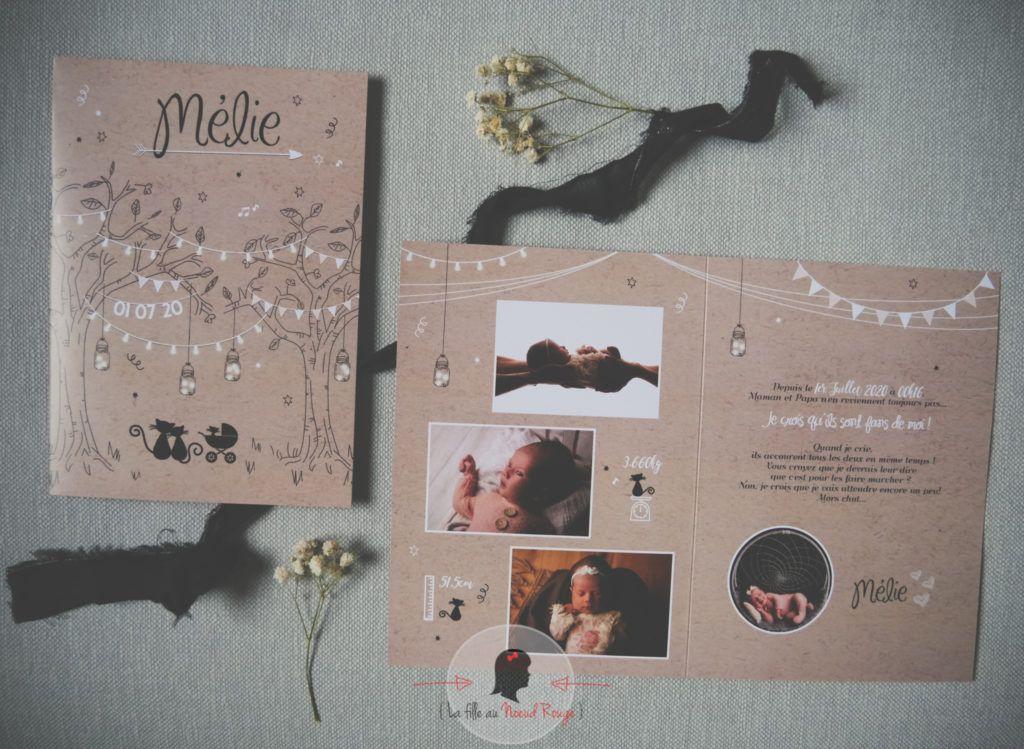 La fille au Noeud Rouge - Faire-part naissance champêtre kraft blanc noir chat photo arbre 1