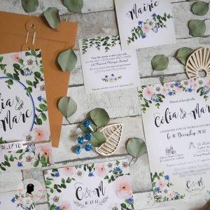 La fille au Noeud Rouge - Coupon mairie mariage champêtre kinflok eucalyptus vert emeraude rose fleurs