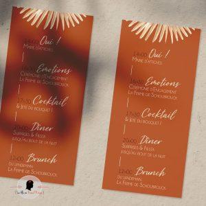 La fille au Noeud Rouge - Coupon programme mariage terracotta fleuri