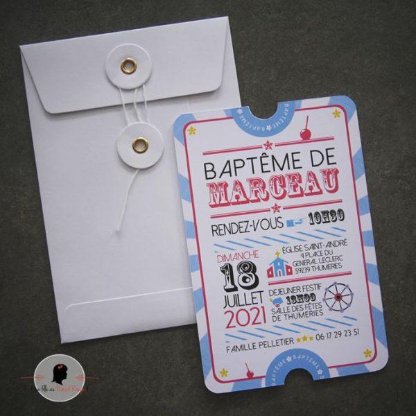 La fille au Noeud Rouge - Faire-part baptême collection fête foraine cirque ticket 2