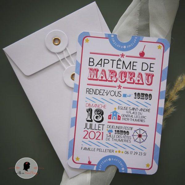 La fille au Noeud Rouge - Faire-part baptême collection fête foraine cirque ticket