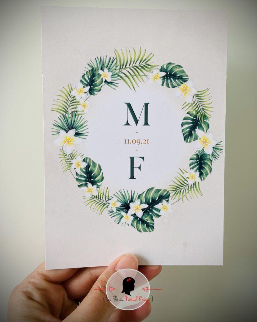 La fille au Noeud Rouge - Faire-part mariage sur-mesure fleurs tropicales
