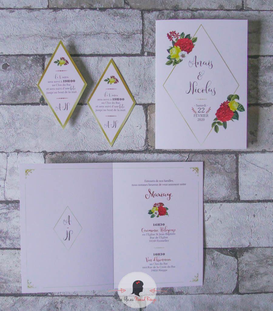 La fille au Noeud Rouge - faire-part mariage sur-mesure végétal fleur losange doré hortensia rouge vert jaune 1